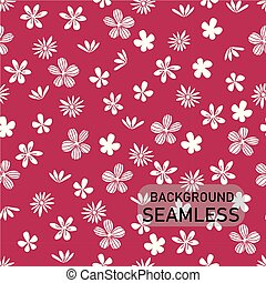 vector doodle white flowers pattern on bright pink background, seamless pattern background
