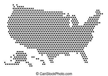 Vector dot map of the United States of America