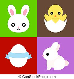 Vector Easter icons set, cute animal, flat design
