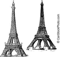 Set of vector Eiffel Towers