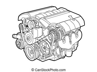 Vectro illustration of a engine on white background