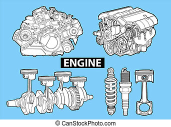 Vectro illustration of a engines on blue background
