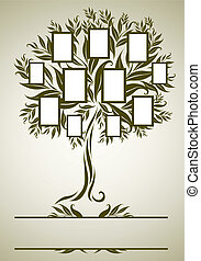 Vector family tree design with frame