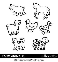 Vector Farm Animals Silhouettes Iso