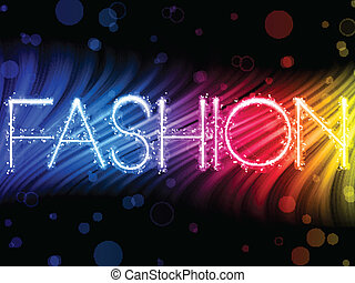 Vector - Fashion Abstract Colorful Waves on Black Background