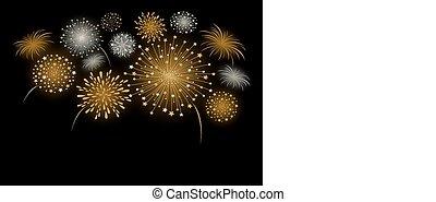 Vector firework design isolated on black background