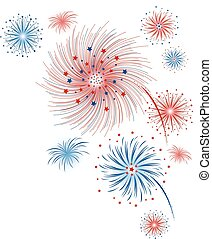 Vector firework design isolated on white background for 4 july independence day