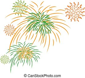 Vector firework independence day isolated on white background