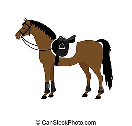 Vector flat cartoon bay horse with saddle and bridle