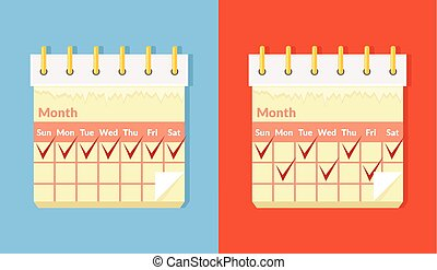 Vector flat cartoon calendar