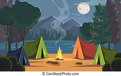 Vector flat cartoon camping