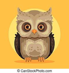 Vector flat cartoon owl