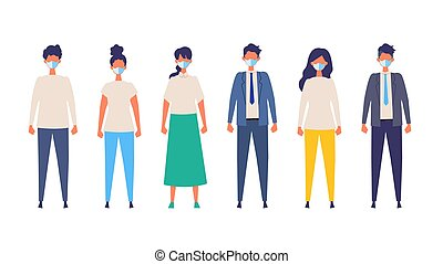 Vector flat illustration of people wearing a surgical mask.