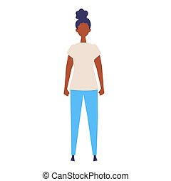 Vector flat illustration of standing woman.