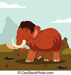 Vector flat mammoth cartoon