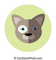 Vector flat round icon. Grey dog on green background. French bulldog.