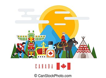 Vector flat style set of Canadian national cultural symbols. Template for banner or poster for tourist. Isolated on white background.
