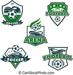 Vector football club icons of soccer balls