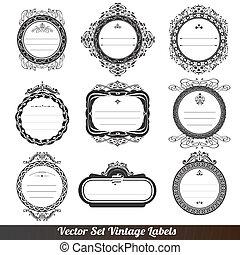Vector frame labels set ornamental