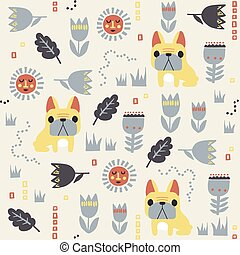 vector French bulldog and Scandinavian flower illustration seamless repeat pattern