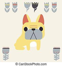 Vector French bulldog animal and Scandinavian flower icon symbol illustration
