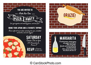 Vector Fun Make Your Own Pizza Party Invitation Set. Recipe Card. Knife. Oil. Grazie Thank You. Graphic design