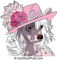 vector funny cartoon hipster dog Chinese Crested breed