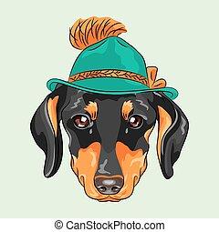 vector funny cartoon hipster dog dachshund