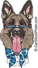 vector funny cartoon hipster dog German shepherd
