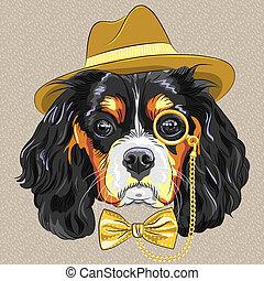 vector funny cartoon hipster dog King Charles Spaniel