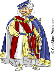 vector funny fairytale cartoon king in ceremonial robes smiles