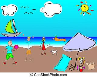 vector funny family on the beach
