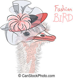sketch closeup portrait of funny fashion Ostrich Bird hipster in red beautiful hat
