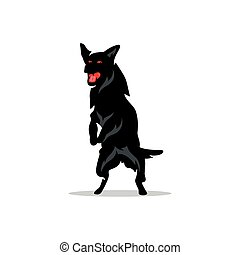 Vector German Shepherd Cartoon Illustration.
