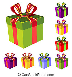 Set of colorful vector gift boxes with ribbon, isolate design elements for easy editing and color change, full scalable vector graphic included Eps v8 and 300 dpi JPG.