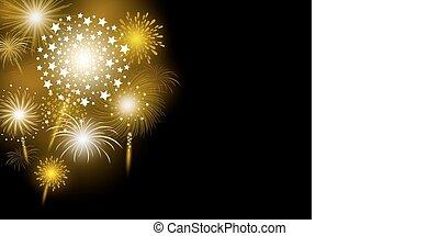 Vector gold firework design on black background