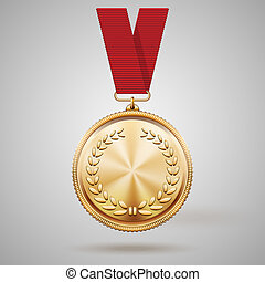 Vector gold medal on red ribbon with relief detail of laurel wreath and reflections conceptual of an award for victory winning first placement achievement or quality on grey background