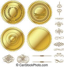 Vector Gold Seals Set