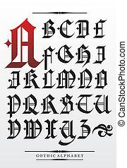 Vector gothic font alphabet type
