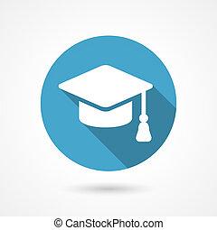 Vector graduation cap icon in flat style