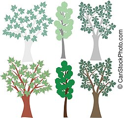 Vector graphic set deciduous trees. Clip Art