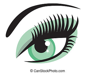 vector green eye with long lashes