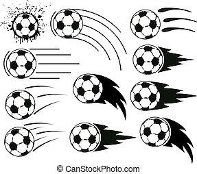 vector grunge flying soccer and football balls