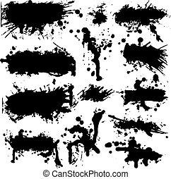 Set of multiple ink blotches, splatter design elements, and splatter banner backgrounds in vector format