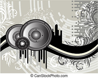 Vector Grunge Music Background with columns and silhouettes buildings