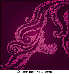 """Vector grunge pink illustration of a girl with beautiful hair (from my big """"Vintage girl collection"""")"""