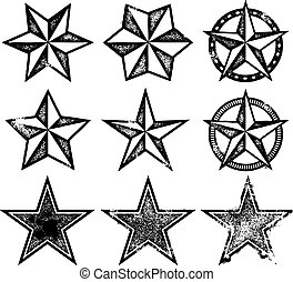 Collection of vintage style stars in various levels of distress.