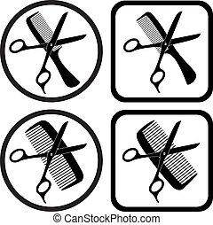 vector hairdresser scissors and comb symbols