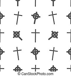 Vector Halloween seamless pattern. Tomb, cross symbols. Scary wallpaper for holiday descoration. Objects isolated on a white background.