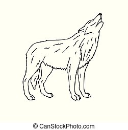 Vector hand drawn doodle sketch wolf howling
